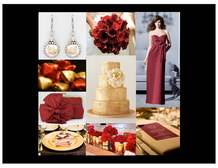 gold, burgundy, red, champagne, formal wedding