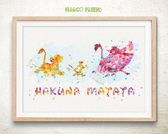 Disney Lion King Hakuna Matata Watercolor Poster by MarcoFriend