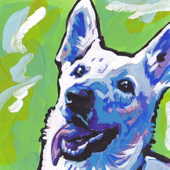blanco pastor alemán moderno perro perro pop por BentNotBroken