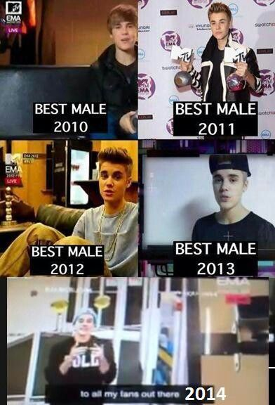Won best male 5 years in a row, congrats Justin :)