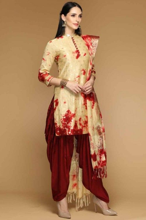 c08326c6be Resham Embroidered Light Golden Patiala Suit | Patiala Suits Online ...