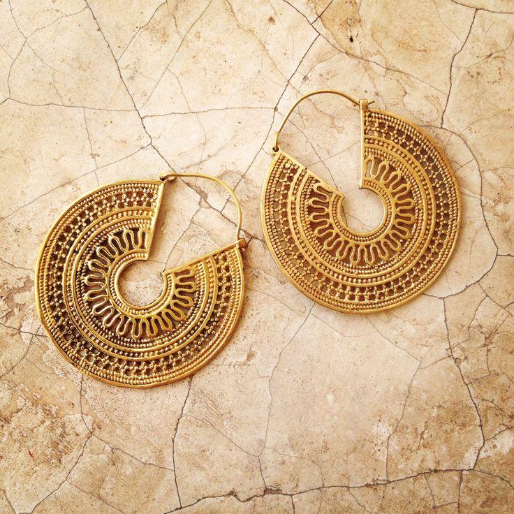 Brass Earrings, Boho Earrings, Tribal Earrings, Hoop Earrings, Gold Earrings, Gipsy Earrings, Tribal Belly Dance Jewellery. by LalaJewelleryBox on Etsy https://www.etsy.com/listing/215394132/brass-earrings-boho-earrings-tribal