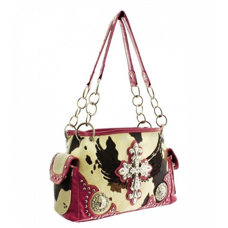 Handbags, Bling & More! Pink Western Cowprint Cross & Wing Purse : Western Style Cross Purses