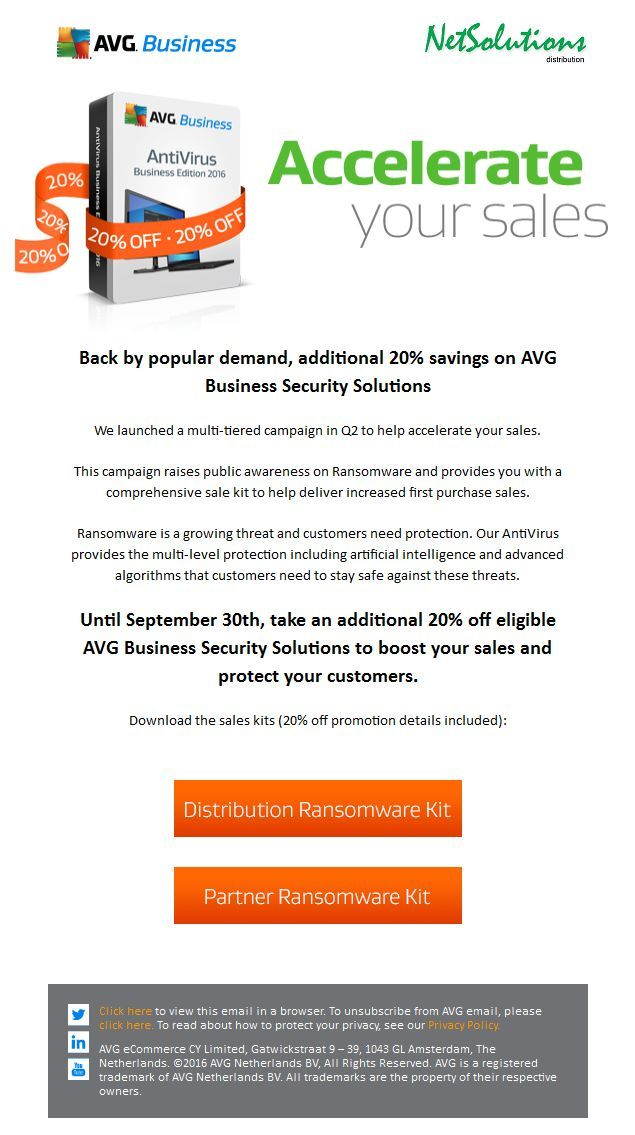 PT. ‪#‎Netsolutions‬ Infonet Back by popular demand, additional 20% savings on ‪#‎AVG‬ Business Security Solutions