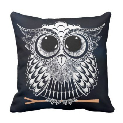 Wise Owl Zentangle Mandala Throw Pillow - home gifts ideas decor special unique custom individual customized individualized