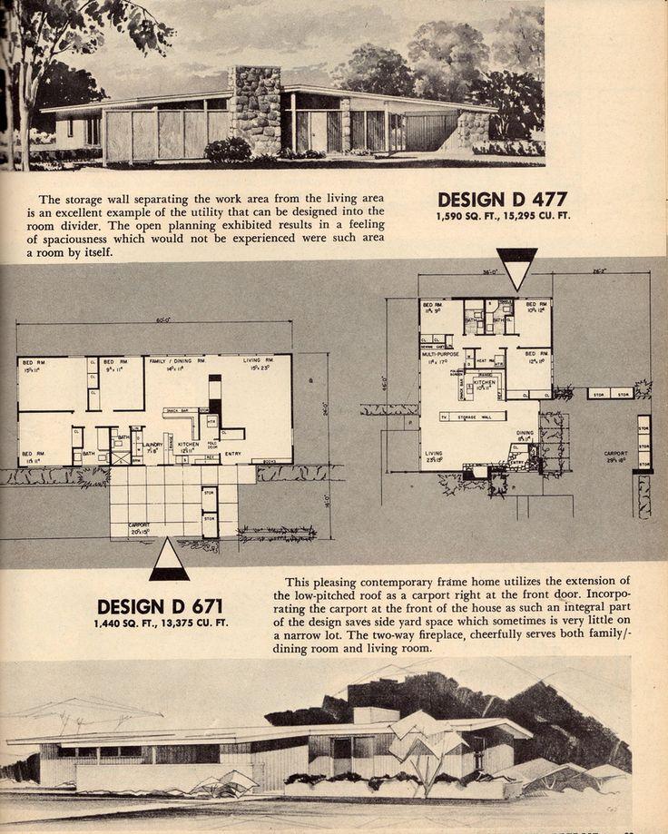 105 best 50\'s house images on Pinterest | Floor plans, Vintage homes ...