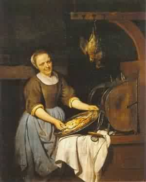Gabriel Metsu The Cook 1657 1667 Painting Reproduction On Artclon For Sale | Buy Art Reproductions The Cook 1657 1667