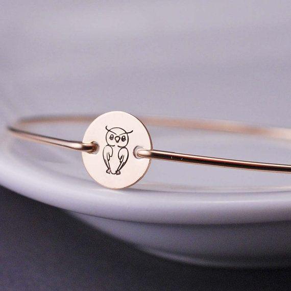 Owl Jewelry, Gold Owl Bracelet, Gold Bangle Bracelet by georgiedesigns >> Love this for my niece!