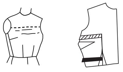 Illustrazione raffigurante modello alterazione del corpetto a basso busto