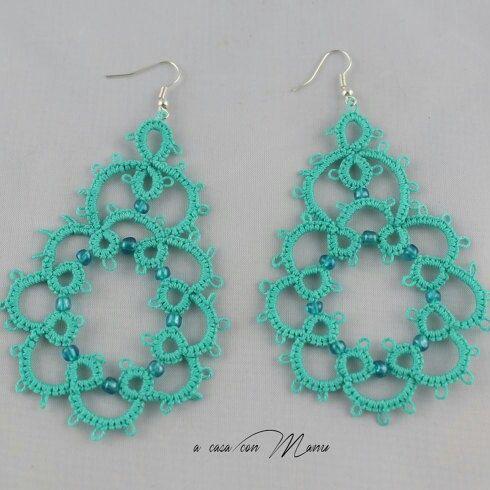 Orecchini in pizzo chiacchierino Lace tatting earrings Orecchini pendenti Idea regalo per lei