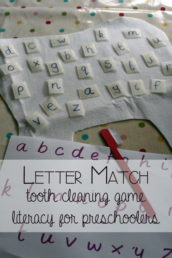 Letter Match Tooth Cleaning Game - Preschool Literacy and Healthy Habits for Kids