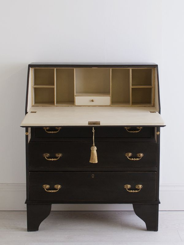 A beautiful antique mahogany bureau / writing desk, restored and hand painted in soft black on the exterior and cream on the interior by Clementene Coates
