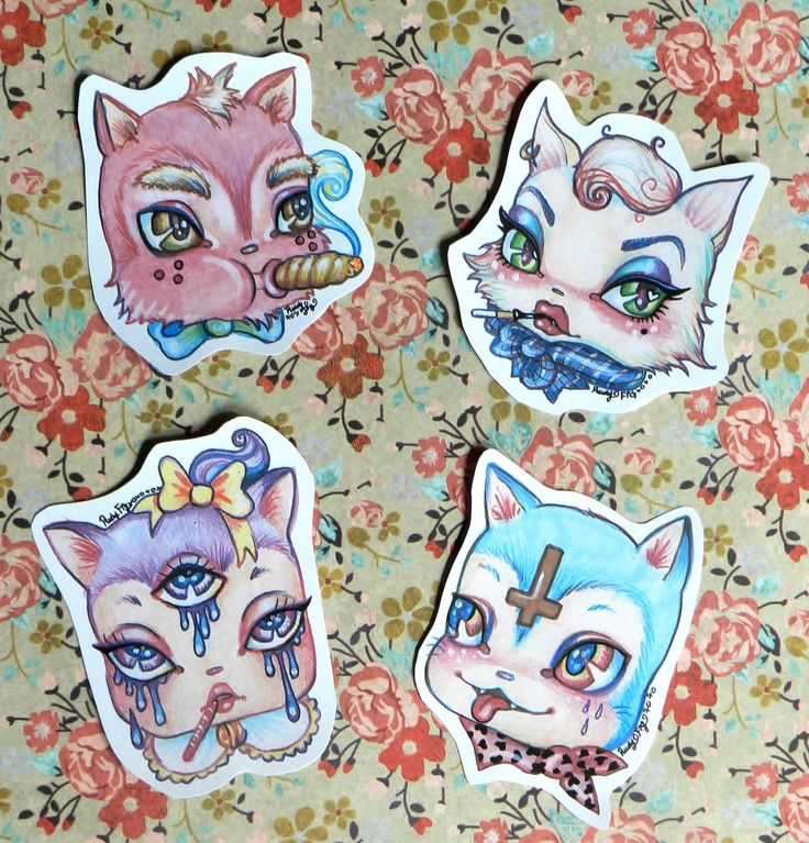 Pack of Bad Mow Mows, cat stickers from Rudy Fig, kawaii, third eye, cute, kittens, pastel, cross, kitsch , mean cats, bad kitty by RudysCandyShop on Etsy