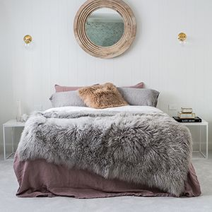 Mongolian Sheepskin Blanket - Light Grey