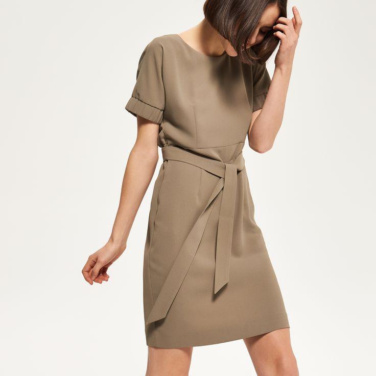 Платье цвета хаки, RESERVED, QL933-87X