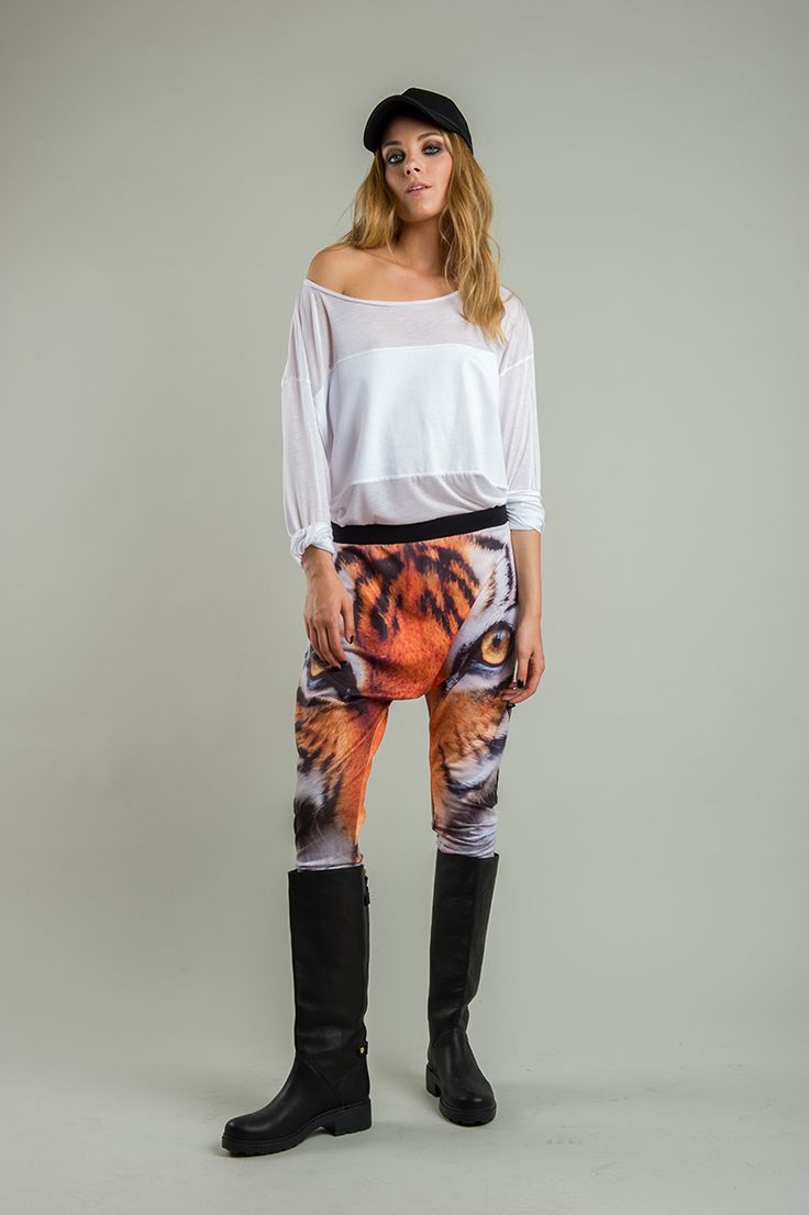 Women's harem pants with a tiger print