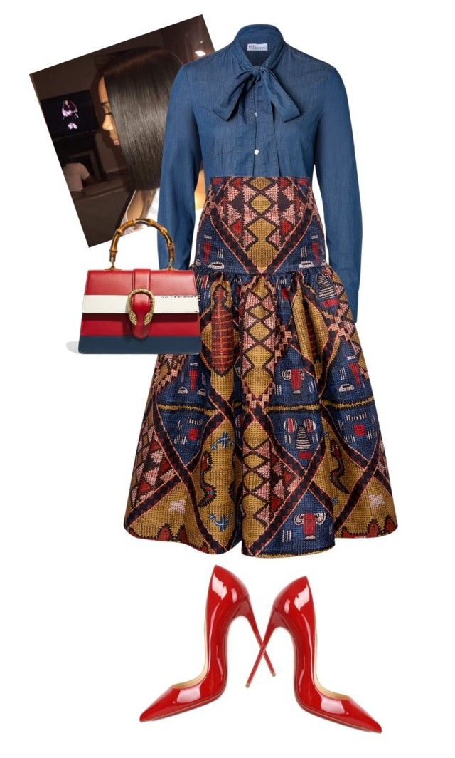 """""""African Sunday #WakandaForever"""" by cogic-fashion on Polyvore featuring RED Valentino, Stella Jean, Gucci and Christian Louboutin"""