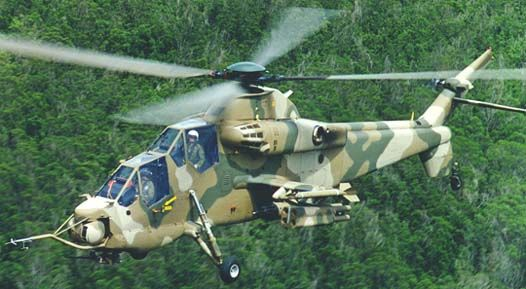 Rooivalk is a latest-generation attack helicopter from Denel Aviation of South Africa. The name Rooivalk is derived from the African word 'Red Falcon'. The South African Air Force (SAAF) ordered 12 Rooivalk AH-2As at a cost of R876m, the first of which entered into service in July 1999. The helicopters form part of No. 16 Squadron at Bloemspruit Air Force Base (near Bloemfontein).