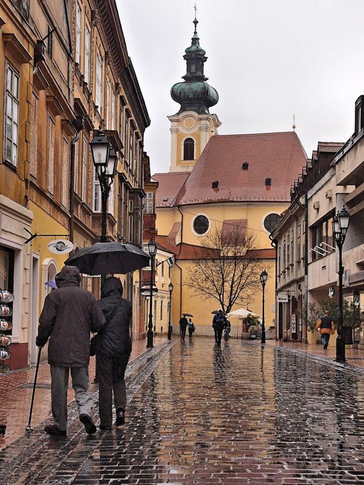 Gyor in the rain Hungary