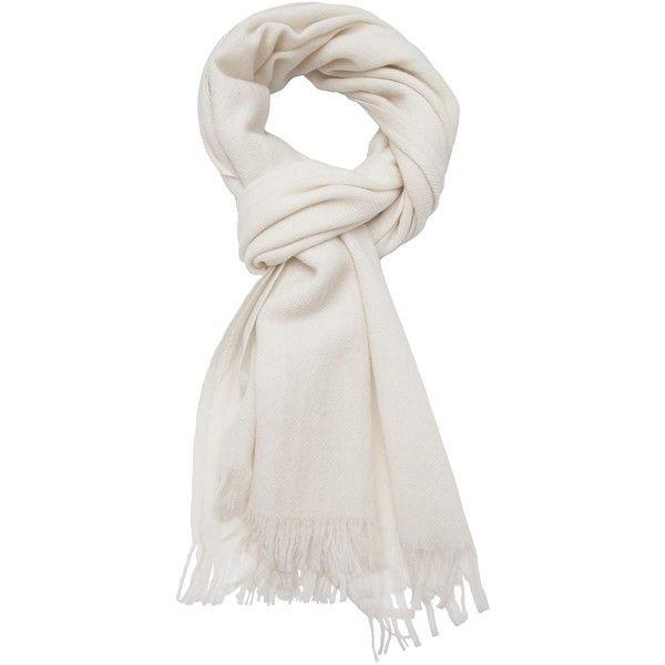 YOHJI YAMAMOTO stole scarf ($660) ❤ liked on Polyvore featuring accessories, scarves, yohji yamamoto, white shawl, wool scarves, wool shawl and white scarves