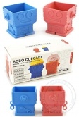 Robot Cupcakes : Silicone Baking : Red and Blue Set of 2 : Robots Novelty Cooking Cup Cakes
