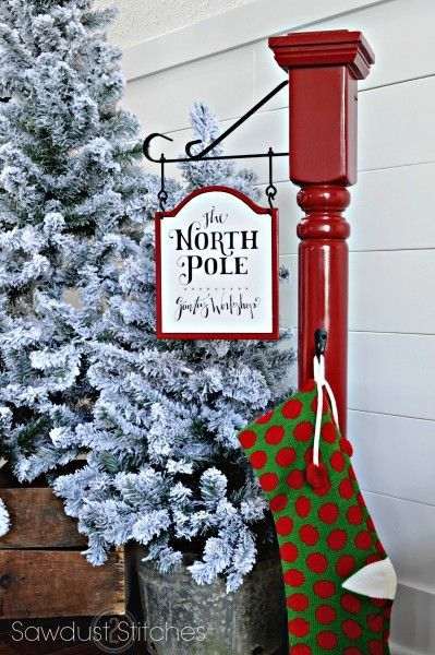 Make your own North Pole Stocking Post!  Full tutorial by Sawdust2Stitches.com