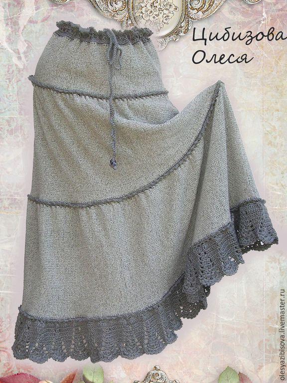 """Купить Вязаная юбка """"Темная орхидея-2"""" - серый, однотонный, юбка, вязаная юбка"""