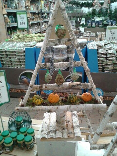 Houten kerstboom voederhuisje