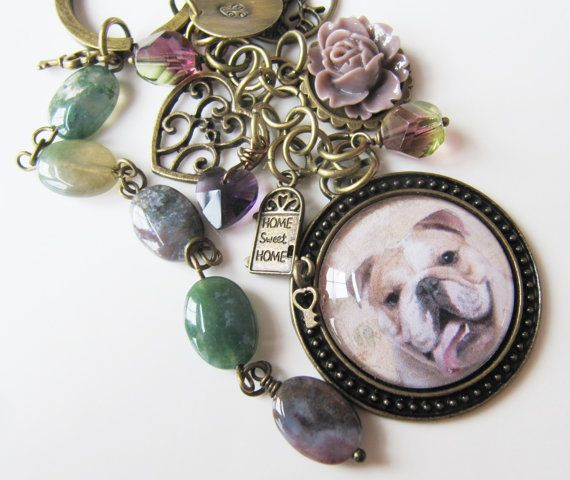 English Bulldog Keychain with initial, by romanticcrafts, $20.00
