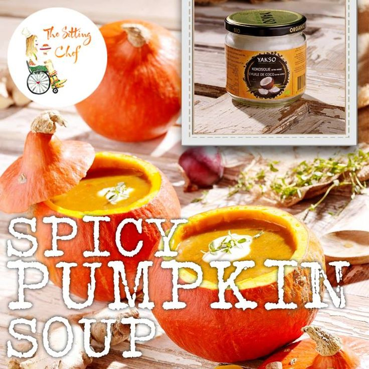 SPICY PUMPKIN SOUP WITH COCONUT BUTTER AND SOY CREAM.