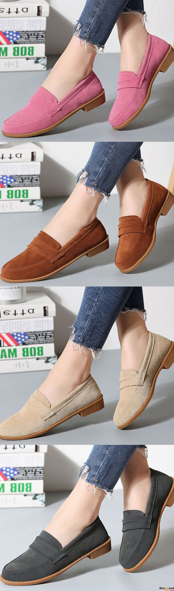 US$29.99 + Free shipping. Comfy Soft Sole Suede Leather Flat Loafers. Comfy and casual. You may need one for daily wear. Shop at banggood now.