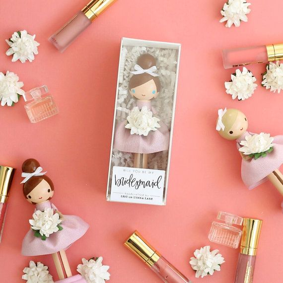 """custom """"will you be my bridesmaid / maid of honor?"""" clothespin peg dolls - set of 3"""