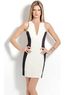 vestido curto tubinho sem manga zíper colcci branco bege preto E