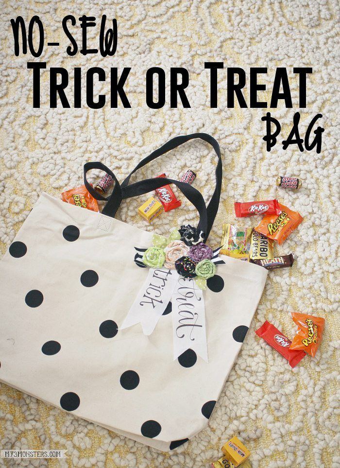 no sew trick or treat bag perfect to bling out your halloween bag