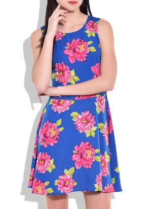 Royal Blue and Pink Floral Print Short Dress - Online Shopping for Dresses