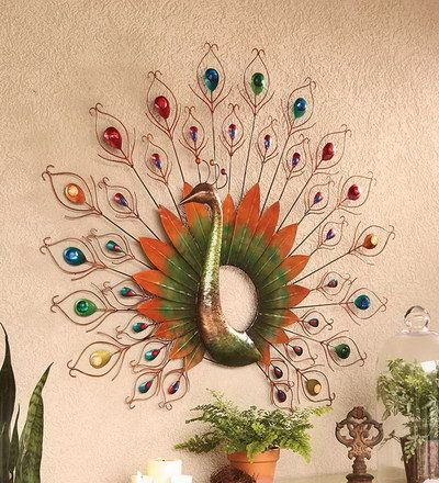 Decor peacock metal peacock metal enameled iron for Peacock wall art