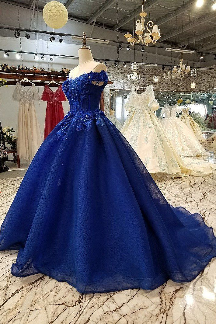 af71b6a1e3 Off Shoulder Royal Blue Evening Dresses with 3D Floral Lace Ball Gown  Quinceanera Dresses on sale – PromDress.me.uk  eveningdresses  eveninggowns  ...