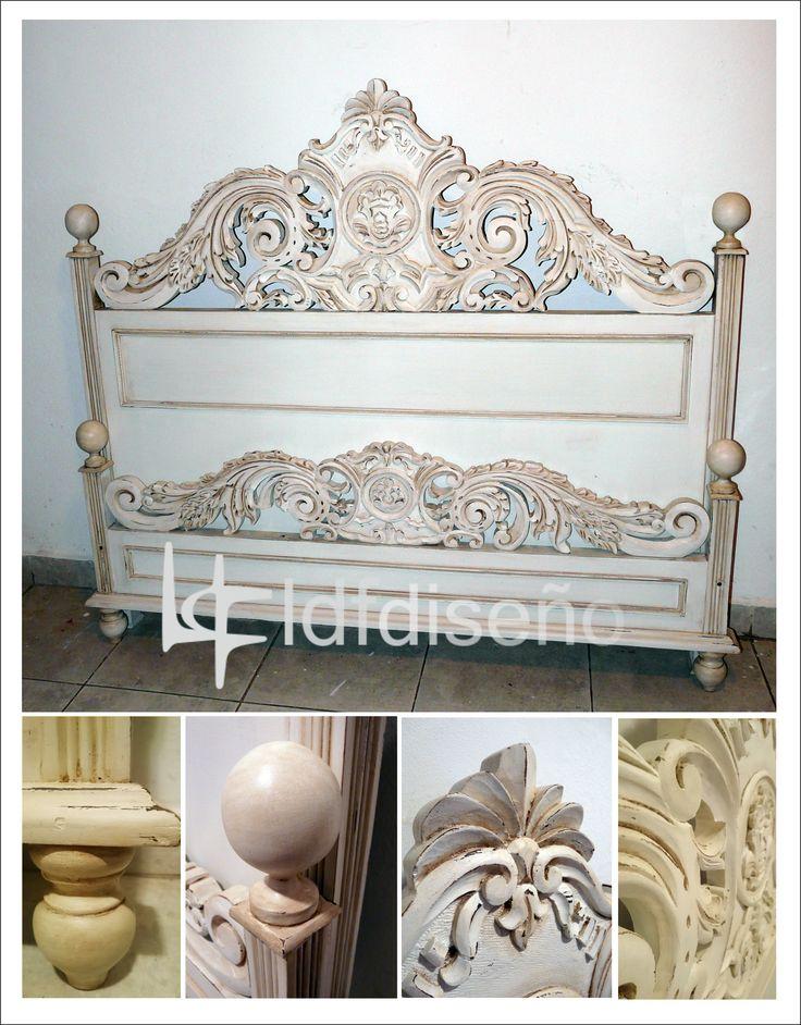 antiguo y hermoso respaldo de cama