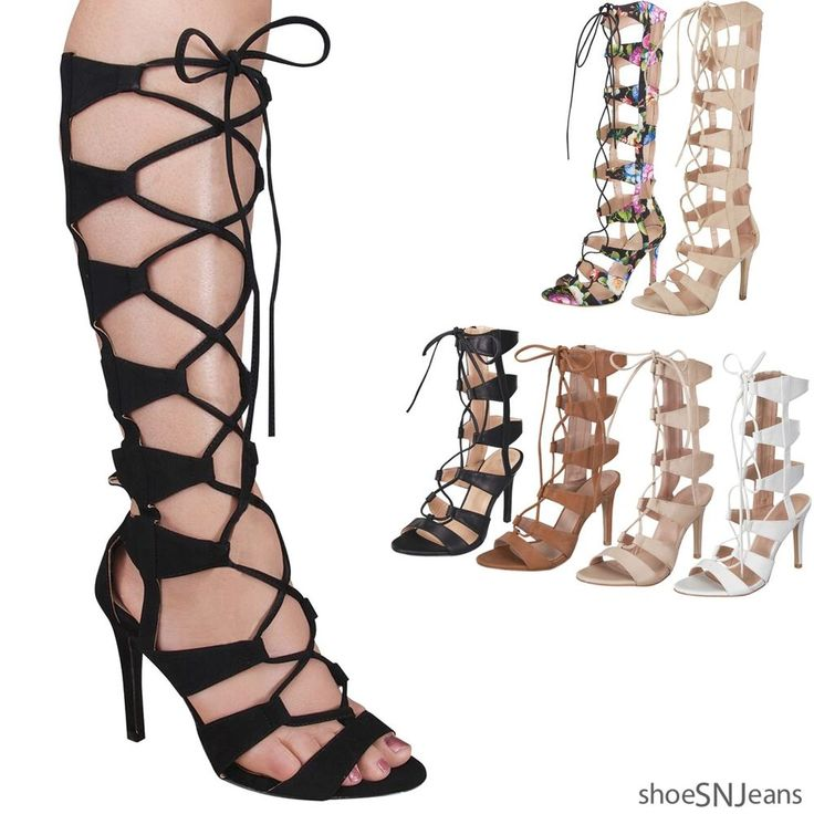 New Women Mid Calf Gladiator Sandal Cut Out Zipper Lace Up Strappy Caged Shoes