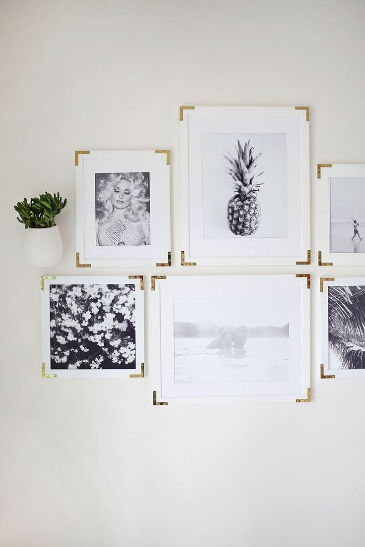 Try This- Update Simple Frames With Gold Hardware (check out the pics:  palms, pineapple, beach, flowers....and DOLLY!  Awesome!)