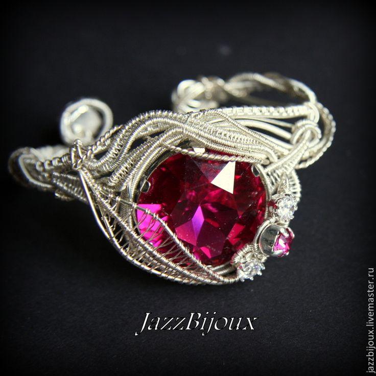 """Купить Браслет с кристаллом """"Фуксия"""" - браслет, плетеный браслет, подарок девушке, нарядный браслет"""