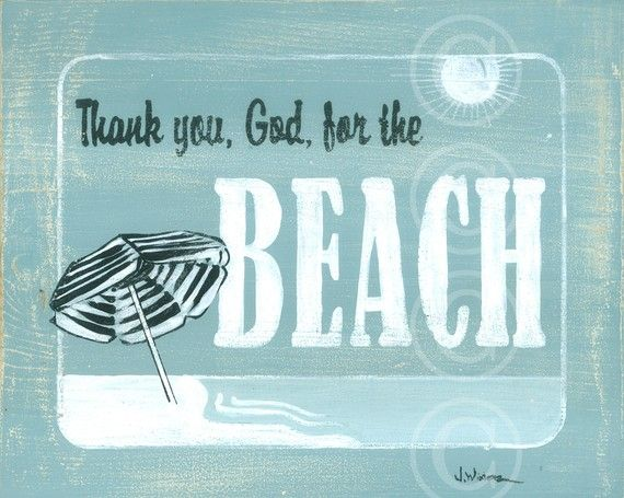BEACH art print Thank you God by jeannewinters on Etsy, $21.00