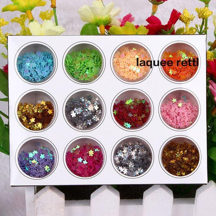 12 мода цветов сливы цветок ногтей блеск ногтей блеск порошок пыль украшения с коробкой для уф-гель ногтя инструмент бесплатная доставка