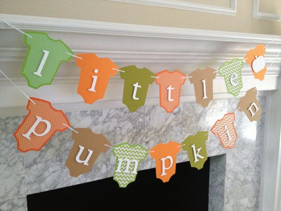 Baby Shower Decor Little Pumpkin Banner Fall Baby by PaperStrip, $28.00