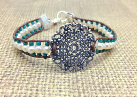 Leather Turquouse and Freshwater Pearl Bracelet by RestlessArtMpls, $25.00