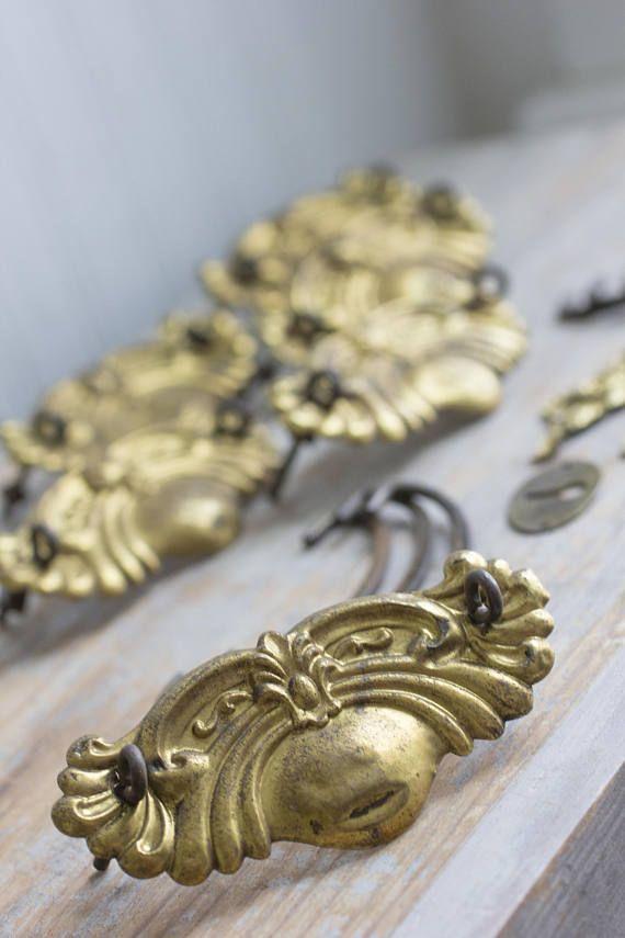 Antique Drawer Pulls Vintage Drawer Handle Knobs Old Gold