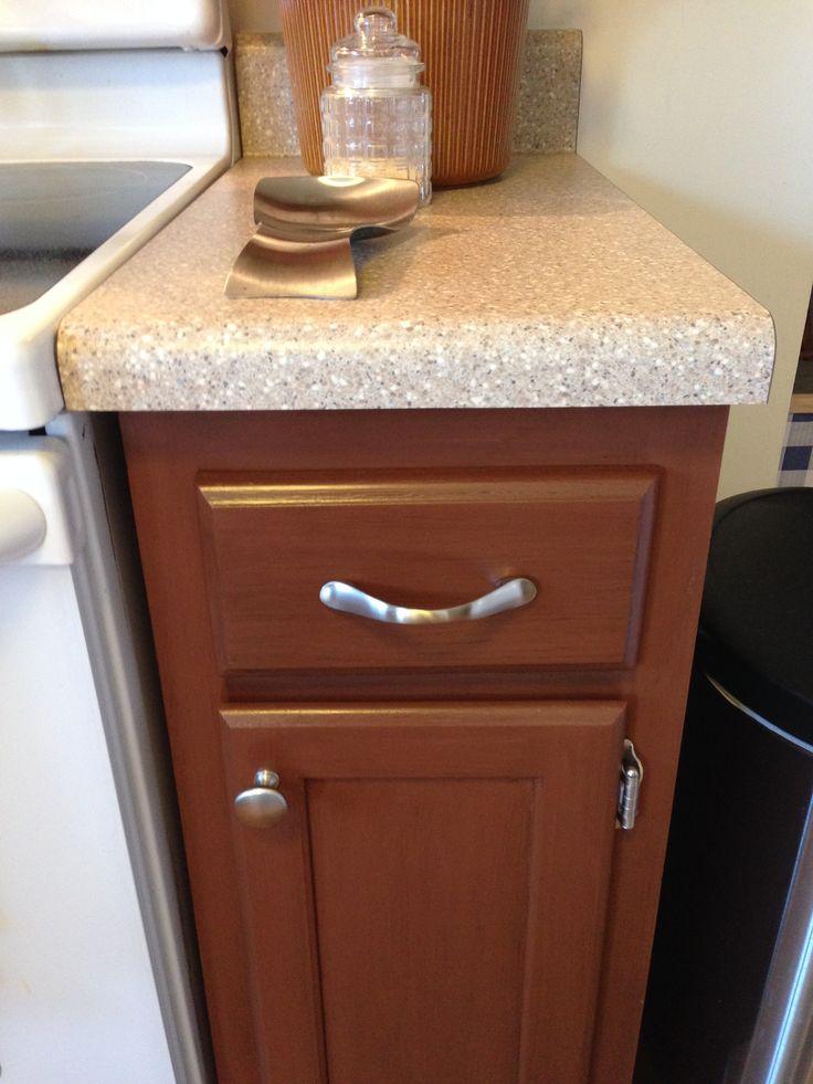 Close Up Of Cabinet Color Gunstock Rustic Rustoleum