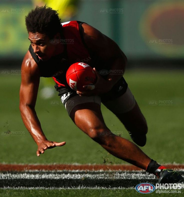 James Gwilt of the Bombers in action during the 2016 AFL Round 02 match between the Melbourne Demons and the Essendon Bombers at the Melbourne Cricket Ground, Melbourne on April 2, 2016.
