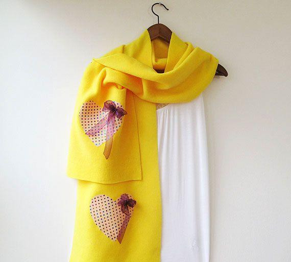 yellow Fleece Scarf Yellow Scarf Scarf Scarves by ElegantScarff