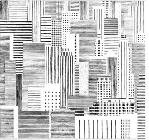Hannah Waldron. Black and white line drawing. Skyline. High rise buildings. Abstract. Geometric. Cross hatch.